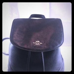 Coach Elle Black Pebbled Leather Backpack.…